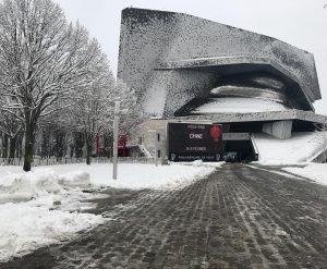 Philharmonie under the snow snow snowstorm music classical museum contemporaryhellip