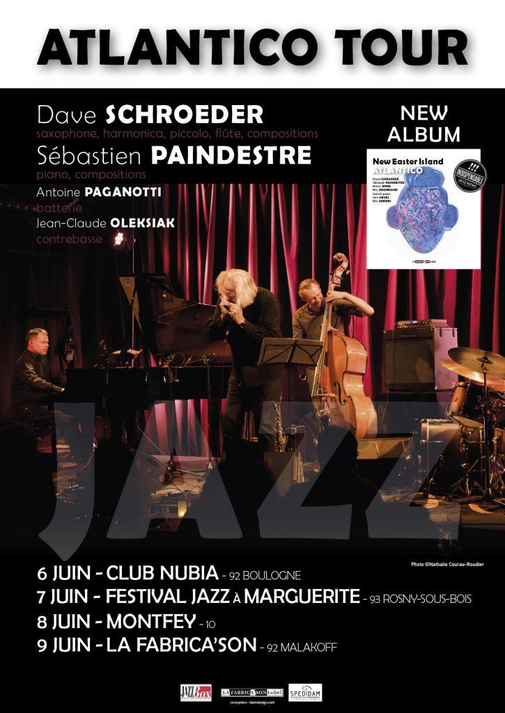 Atlantico tour du 6 au 9 juin au club Nubia, Festival Jazz à Marguerite, à Montfey et à la Fabrica'son à Malakoff